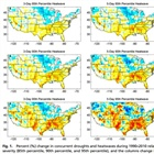 How has the concurrence of drought and heatwaves in the U.S. changed over time?
