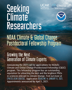 NOAA Climate and Global Change (C&GC) Fellowship Program Now Open for 2021 Applications