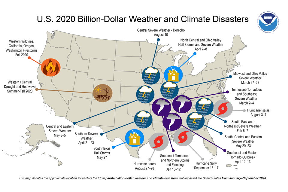 US 2020 Billion-Dollar Weather and Climate Disasters