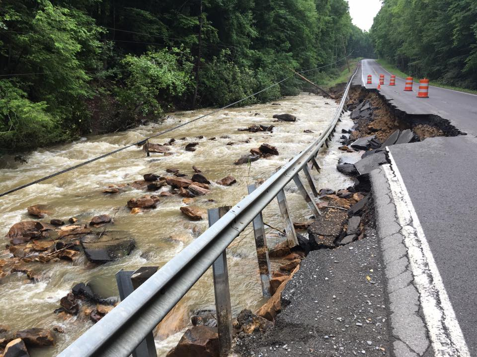 Damage from an extreme downpour in West Virginia, June 2016. (Credit: Rebecca Lindsay)