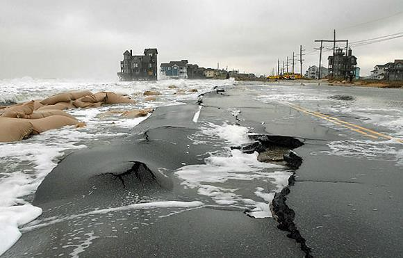 Rising seas can wreak havoc on coastal infrastructure. (Credit: U.S. Department of Transportation)