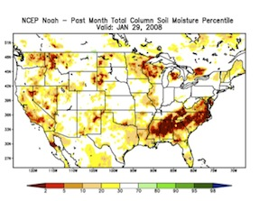 U S Drought Monitor Top Near The End Of The 2007 2008 Southeast U S Drought Indicating Drought Severity Category And Nldas Mosaic Bottom Left And