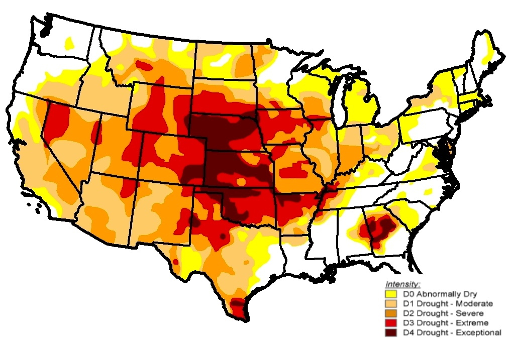 An Interpretation Of The Origins Of The Central Great Plains - Drought severity map us